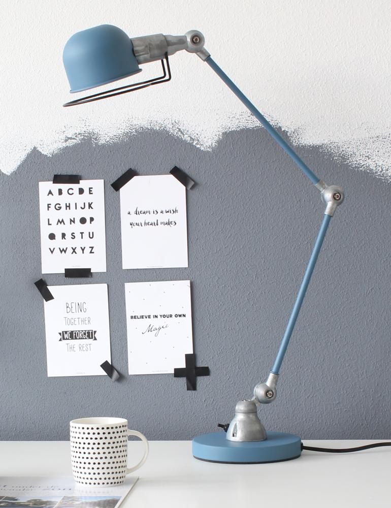 schreibtischlampe blau industrie