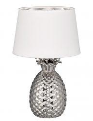 Ananasfuß aus Stahl mit Weißem Lampenschirm-1644CH