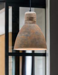 Braune rustikale Hängelampe mit Holz-1745B
