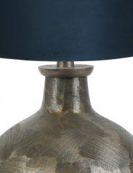 Bronze-kugelform-Tischlampe-mit-Blaue-Schrim-9258BR-1