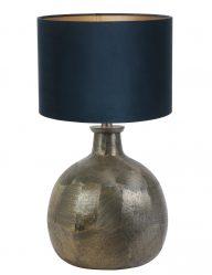 Bronze kugelform Tischlampe mit Blaue Schrim-9258BR