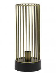 Goldene Käfig-Tischlampe mit Schwarzem Aufsatz-1959BR