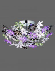 Große Deckenleuchte mit lila und Weißen Blüten-1830CH