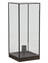 Große Tischlampe mit Glas und Schwarzem Stahlrahmen-1941ZW