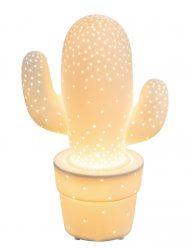 Keramik-Kaktus Tischlampe Weiß-1718W