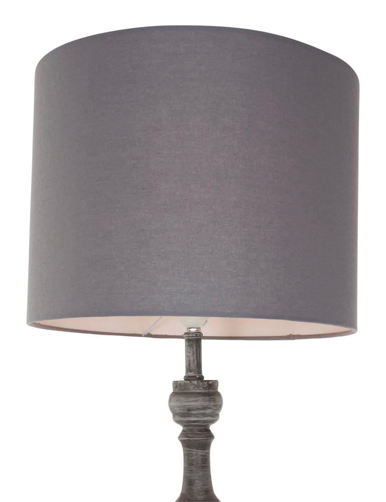 Ländliche Stehlampe aus Holz Trio Leuchten Hood Grau
