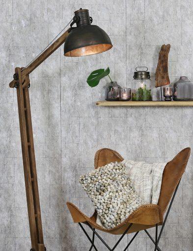 Ländliche-Stehlampe-aus-Holz-mit-Schwarzem-Schirm-2089ZW-1