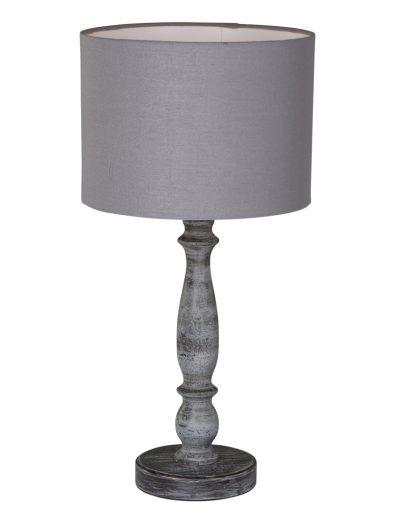 Ländliche Tischlampe aus Holz Grau-1641GR