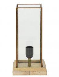 Ländliche Tischlampe mit Holz und Glas-1913BE
