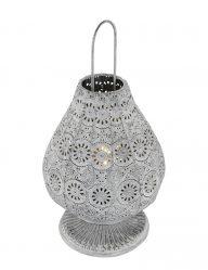 Laternentrio Beleuchtung mit Blumenmuster Jasmin Silber-1067GR