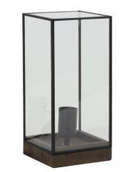 Rechteckige Tischlampe Schwarz mit Glas-1940ZW