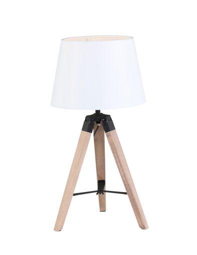 Robuste Holztischlampe Weiß-1567BE