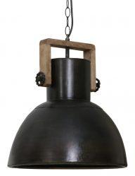 Schwarze Industrielampe mit Holz-1678ZW