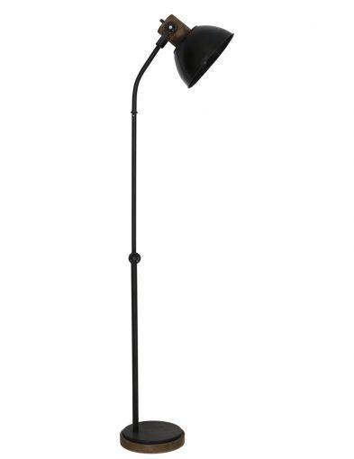 Schwarze Industriestehleuchte mit Holzelementen-1954ZW