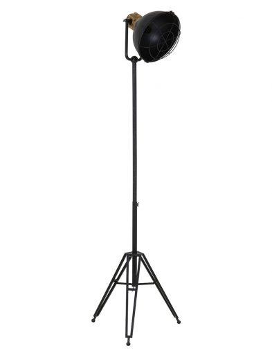 Schwarze Stativlampe mit Holzdetail-1914ZW