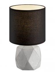 Schwarze Tischlampe mit Grauem Fuß-1844GR