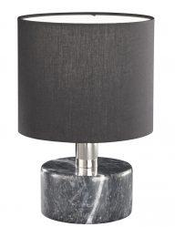 Schwarze Tischlampe mit Marmorsockel-1853ZW