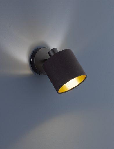 Schwarze-Wandlampe-mit-Goldener-Innenseite-1652ZW-1