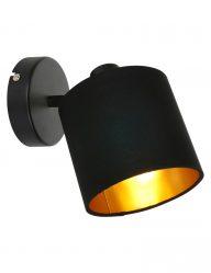 Schwarze Wandlampe mit Goldener Innenseite-1652ZW
