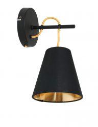 Schwarze Wandleuchte mit Goldener Innenseite-1655ZW