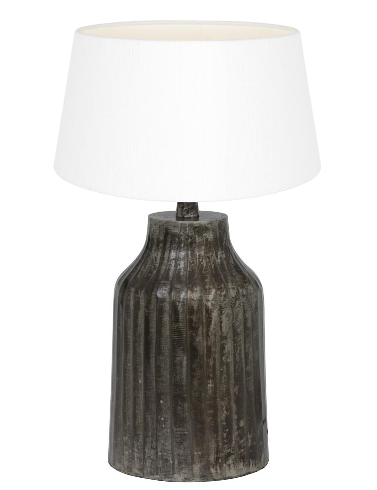 schwarzen tischlampe mit wei e schirm light living tomi. Black Bedroom Furniture Sets. Home Design Ideas