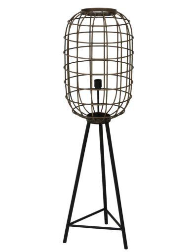 Stativ-Stehlampe mit Käfigschirm Schwarz-2087ZW