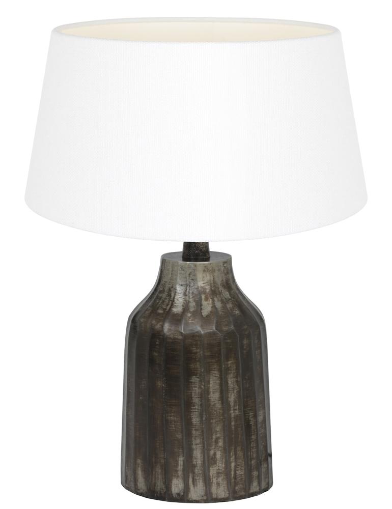 tischlampe aus metall mit wei e schirm light living tomi. Black Bedroom Furniture Sets. Home Design Ideas