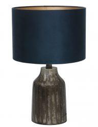 Tischlampe aus gebürstet Metall mit Blaue schirm-9288ZW