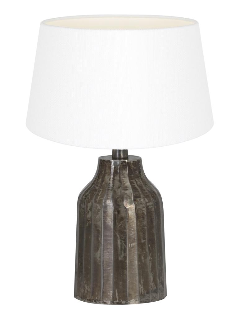 tischlampe aus geb rstet metall mit wei e schirm light. Black Bedroom Furniture Sets. Home Design Ideas
