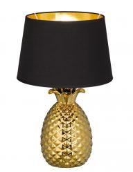 Tischleuchte Ananas mit Schwarzem Lampenschirm-1644GO