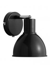 Wandleuchte schwarz mit schalter-2345ZW