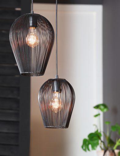 Wohnzimmerlampe mit Schwarzer Drahtlampe-1740ZW