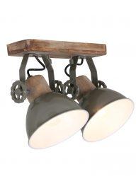 hippe deckenleuchte mit zwei lampen gruen-7969g