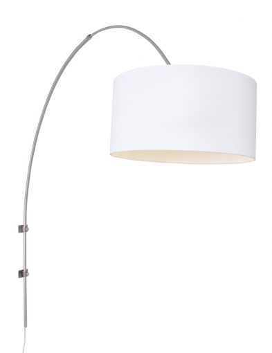 moderne wandbogenlampe stahl weiss-9939st