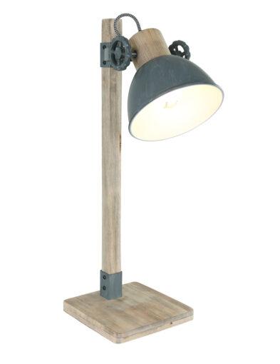 Tischleuchte Landhausstil Holz und grau-2665GR