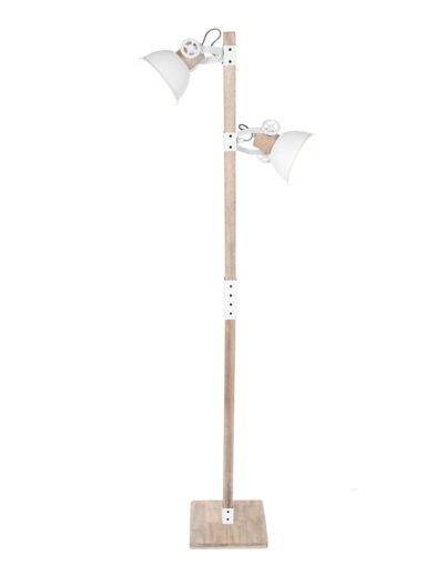 Skandinavische Stehleuchte Holz und weiß-2666W