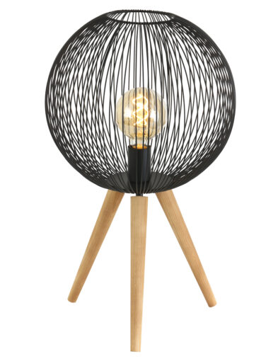 Tischleuchte Stativ Holz und schwarz-2708ZW