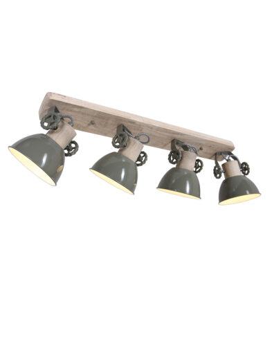 Robuste Deckenleuchte Holz und grün-2729G