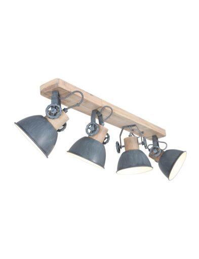 Rustikale Deckenleuchte vierflammig Holz und grau-2729GR