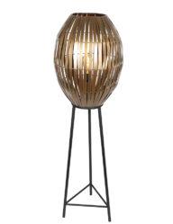 Stehleuchte mit goldener Drahtkugel schwarz-2832BR