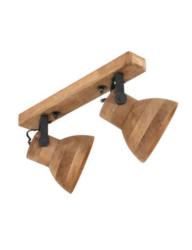 Zweiflammiger Deckenstrahler Holz braun-2938B
