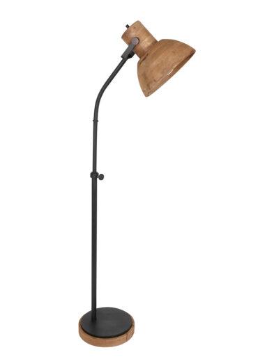 Stehleuchte mit Holzschirm braun-2958B