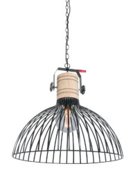 Drahthängeleuchte Holzdetail schwarz-2998ZW