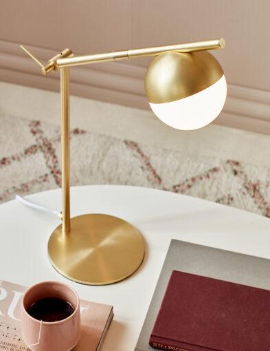 Schreibtischlampe Glaskugel gold-3012ME