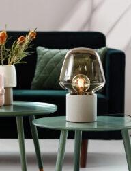 Tischleuchte Rauchglas grau-3022GR