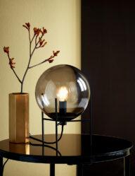 Kugel Tischleuchte Rauchglas schwarz-3023ZW