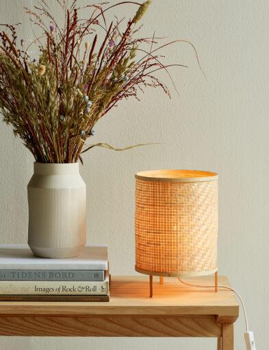 Runde gewebte Bambus Tischleuchte braun-3030B