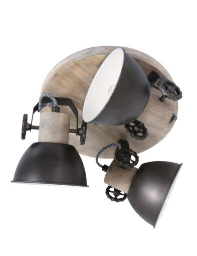 Runde Deckenleuchte Holz grau-3063A