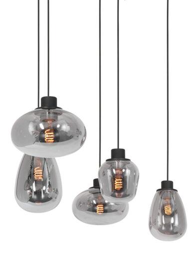 Verspielte Esszimmerlampe Rauchglas schwarz-3078ZW