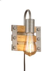 Wandleuchte industriell Holz und Metall-3157ST